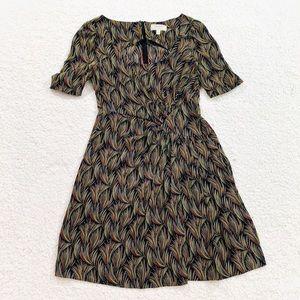 Moulinette soeurs feather print dress mini sz 6